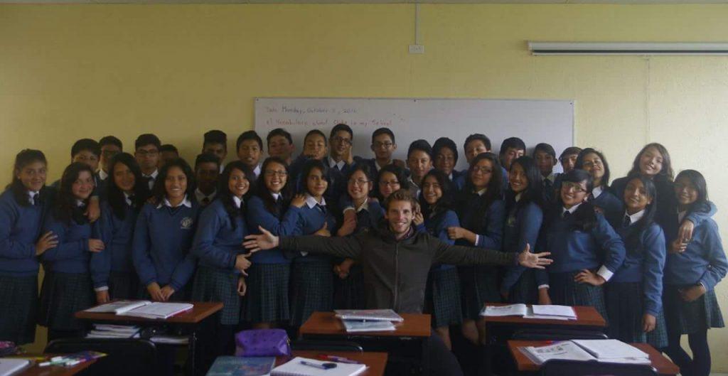 Fabien prof à Conocoto proche de Quito, en Équateur