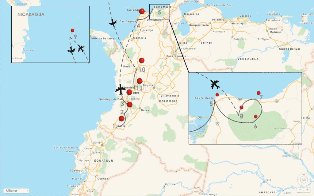 plan itinéraire de mon voyage en Colombie