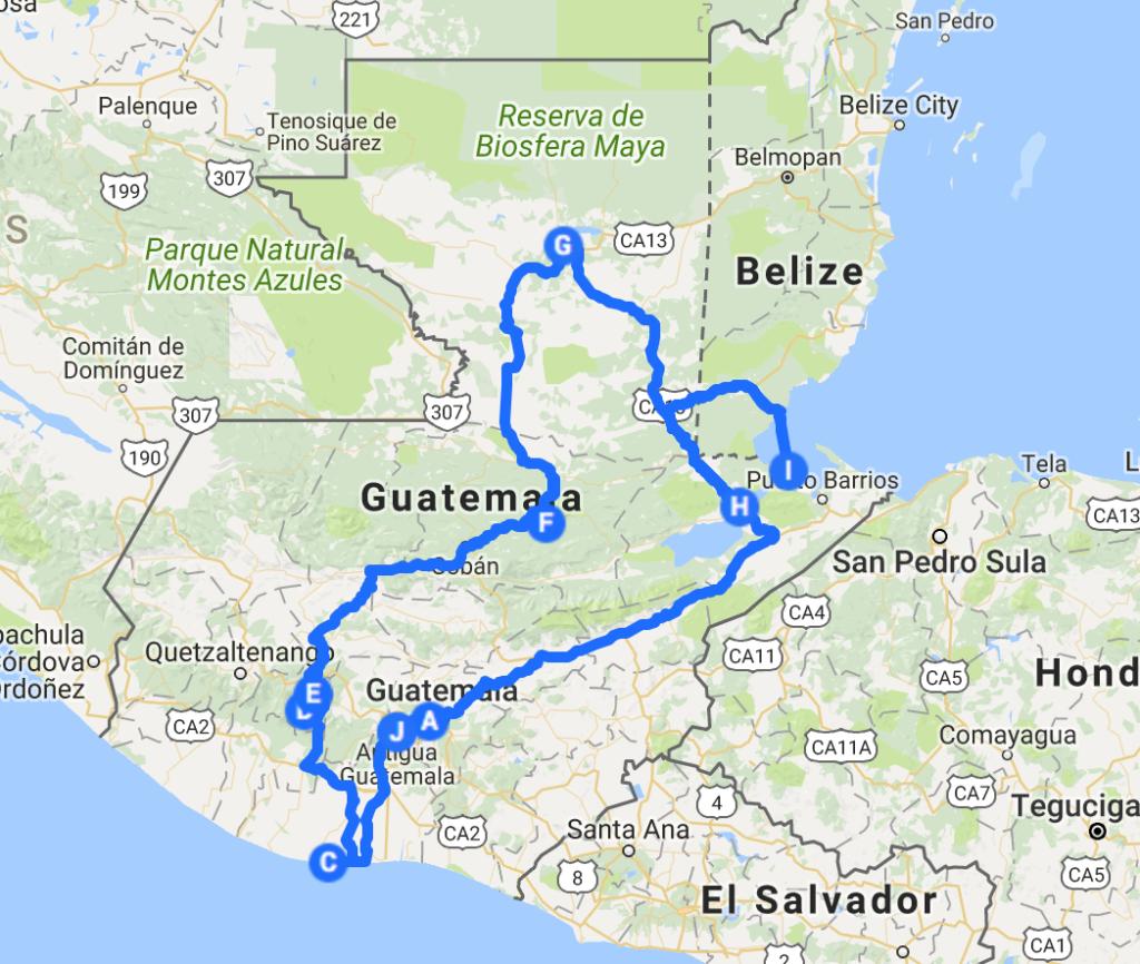 itinéraire au Guatemala