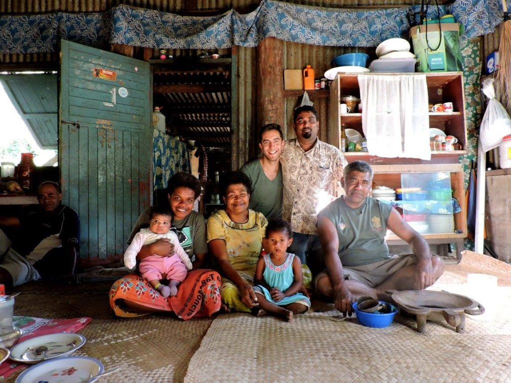 Friendly Fijians welcoming us in their home in Abaca village